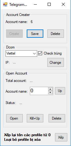 Tool quản lý tài khoản Telegram Multi Account